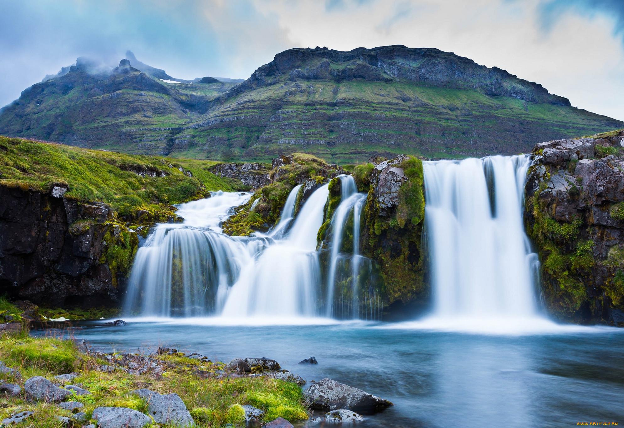 картинка на рабочий стол горы с водопадом цвет вмф
